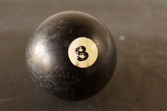 Antique Clay Billiard Ball Black - Thrid Shfit Etsy