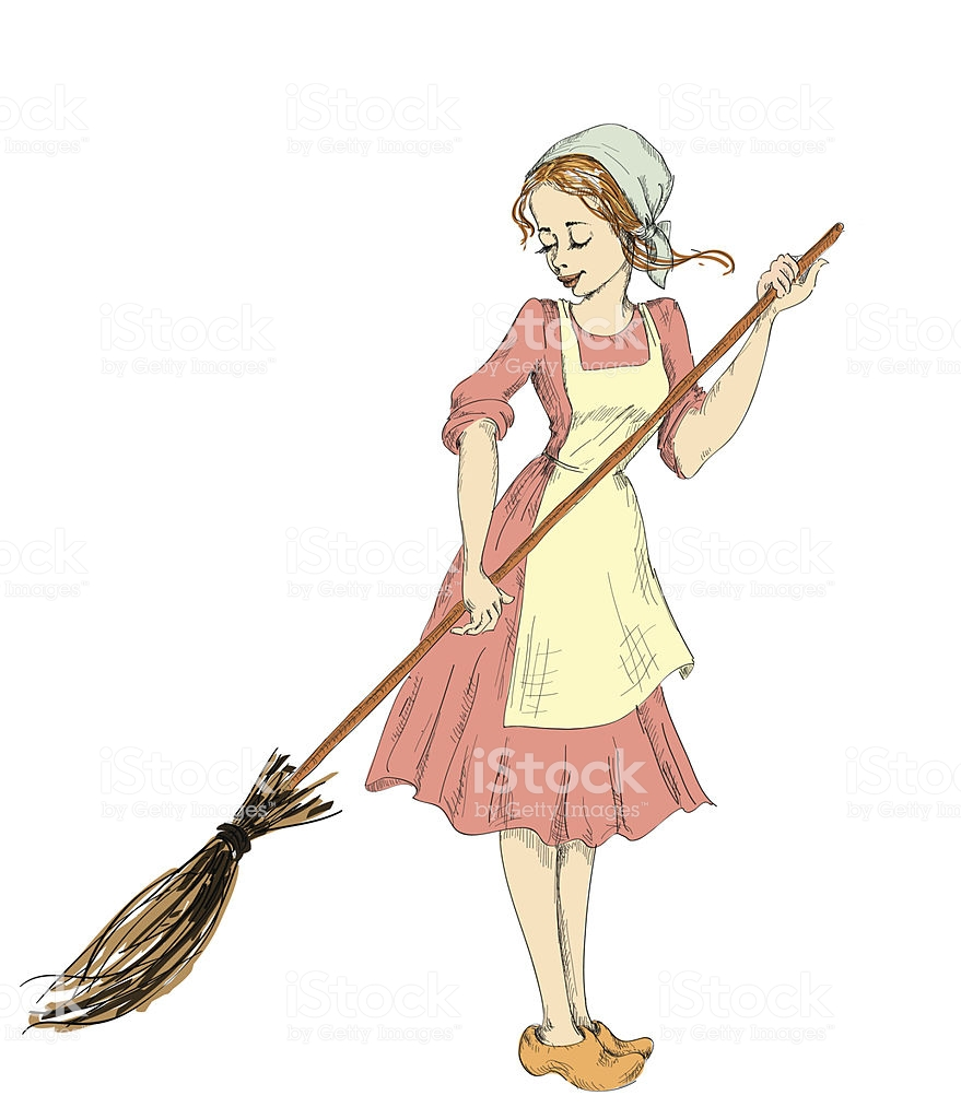 cinderella with a broom sweeps half