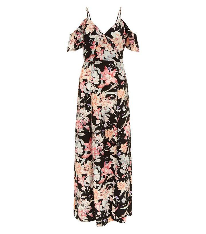robe-longue-noire-à-imprimé-floral-et-épaules-dénudées-
